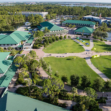 Aerial photo of FGCU Great Lawn