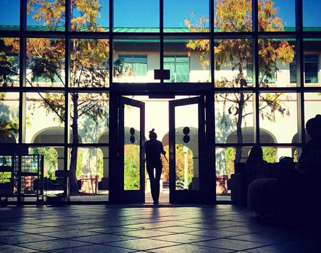 merwin hall doors leading to courtyard
