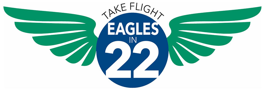 Decorative logo of Eagles in 22 program