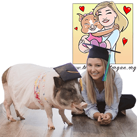 Makenzie Whitaker and Olive her Service Pig